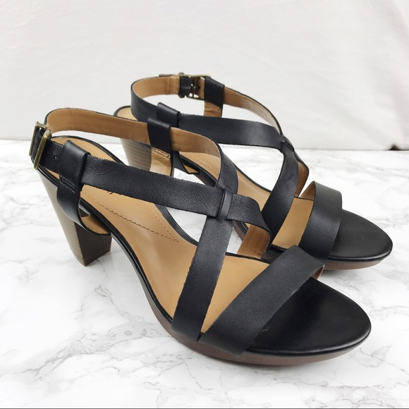 5baa73c4dba1 Clarks Shoes - Clarks Black Leather Strappy Heeled Sandals